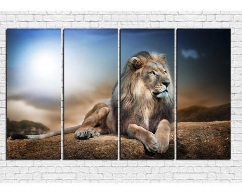 Модульная картина Львы № 0006ЖЛВ